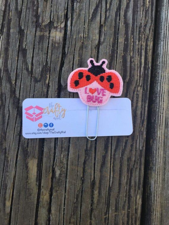 Love Bug Lady Bug Clip/Planner Clip/Bookmark. Valentine's planner clips