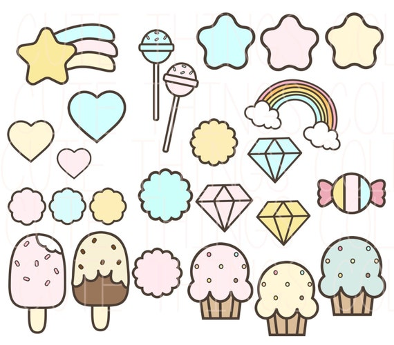Sale kawaii elements cute things clip art digital scrapbook for Cute stuff for sale
