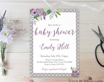 Purple Floral Baby Shower Invitation , Floral Baby Shower , Purple and Grey Baby Shower , Printable