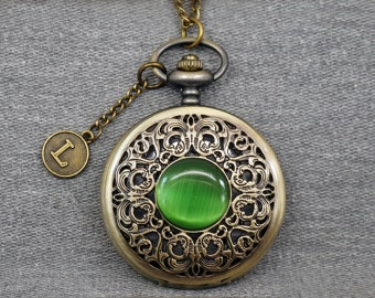 FAUX Opal Pocket Watch Antique Bronze Watch Fob Floral Pocket Watch Pendant 46mm, for gifts -P637