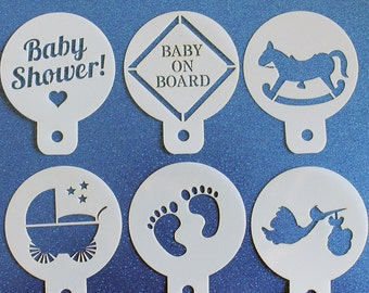 BABY SHOWER Pack of 6 Cupcake Stencils with Stork, Pram, Rocking Horse etc