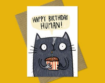 Funny cute cat birthday greetings card, kitten, pet, for him, for her