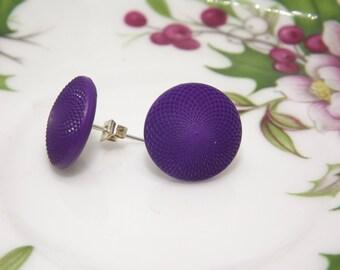 Orecchini a lobo/ Orecchini viola/ Orecchini vintage/ Purple earrings/ Button earrings/ Vintage earrings
