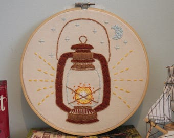 Midnight Oil Embroidery, Wall Art, Hoop Art