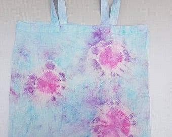 Pink, Purple and blue tie dye tote bag.