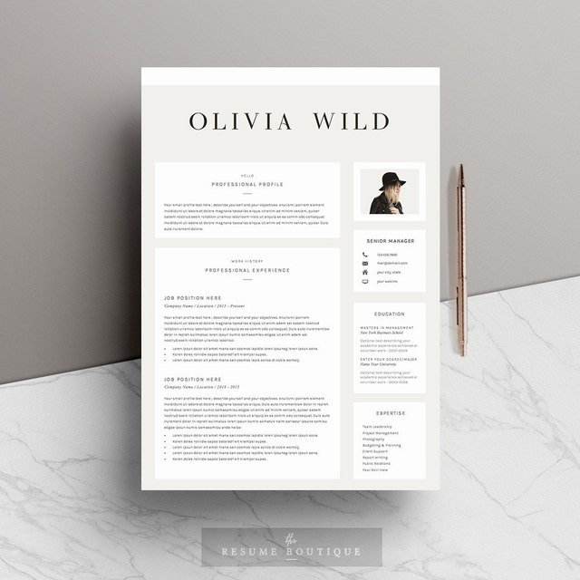 the original etsy shop for modern resume by theresumeboutique