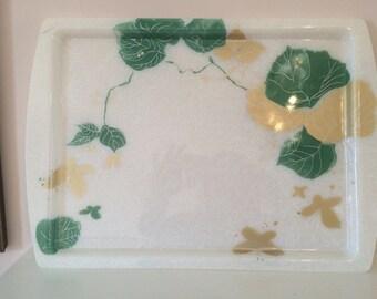 Vintage 1960 trays  green gold leaf design