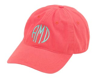 Personalized Coral Baseball Cap - Monogram Hat - Womens Hats - Adult Monogrammed Hats - Ladies Baseball Hat - Monogrammed Hats for Women