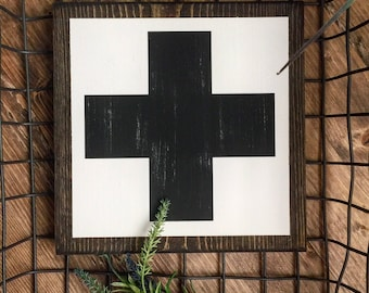 Rustic Small Swiss Cross Sign Home Decor Farmhouse Cottage Industrial signs