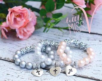 Super Sparkle Cross bracelet. First Communion Bracelet. First confirmation bracelet. Dedication bracelet. Baptism Gift.