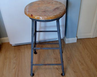 Vintage Industrial Stool With Oak Seat