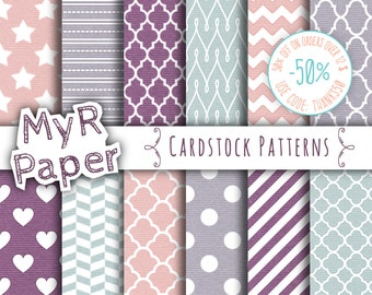 """SALE 50% Cardstock Digital Paper: """"Cardstock Patterns"""" Pack with Chevron, Stars, Hearts in Sky Blue, Pink, Purple, Lilac and Fresh White"""