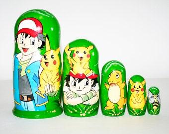 Nesting doll Pokemon for kids signed matryoshka russian dolls