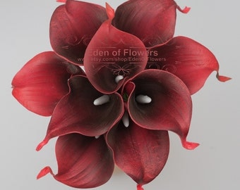 Real Touch Wine Red Calla Lilies for Wedding Bridal Bouquet Centerpieces Decoration