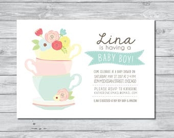 tea party baby shower invitation baby shower invitation tea party