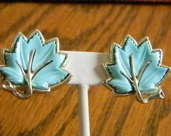 Light Blue Lucite Silver Tone Leaf Clip Earrings
