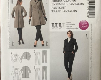 Burda 7162 Jacket Coat Pea Coat Womens Jacket Pattern Pants Stirrup Pants Trousers Pattern Pantsuit Size 6 - 18 UNCUT