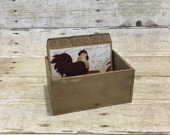 Chicken Recipe Box, Recipe Box With Dividers, Wood Recipe Box, Rustic