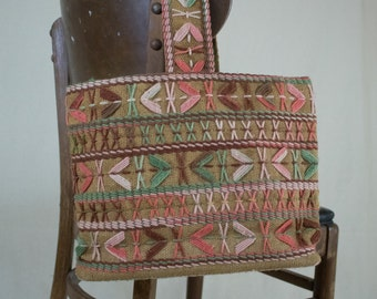 Vintage 70s Embroidered Purse Tote
