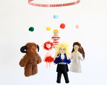 Labyrinth nursery mobile / Babe with the power / Goblin king / David Bowie doll / Ludo /Fiery /