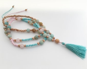 Long beaded necklace with Amazonite, Rose Quartz and Rosewood, gift, summer, festival, pastel necklace, pink and turquoise tassel necklace