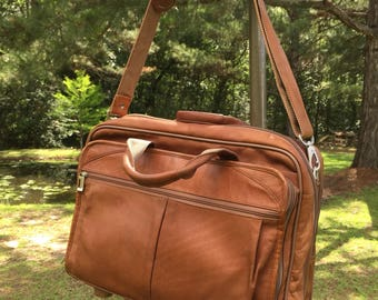 Leather Attache' Briefcase Rolling Office Camel Brown Leather Vintage Briefcase / Attache' Luggage ReFabulousReVamped  ReFabulous