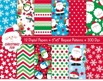 Christmas Digital Papers,Christmas Scrapbook Papers,Santa Paper,Reindeer Papers,Holiday Papers,Scrapbooking,Christmas Backgrounds,Commercial