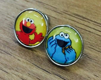 Cookie Monster And Elmo of Sesame Street earring