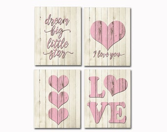 Wood decor pink nursery art kids art girl wall art baby girl room decor kids wall decor playroom hearts pink love typography decor dream big
