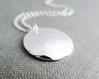 Hammered silver necklace, hammered silver pendant, silver disc necklace, rustic necklace, statement neclace, silver necklace for women,