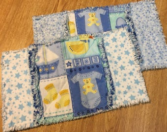 baby burp cloths, rag burp cloths, set of two, baby boy rag burp cloth, thick burp clothes, flannel burp clothes, baby gift
