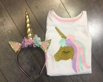 2 pc unicorn pink gold lavender and mint headband, quick shipping unicorn headband and matching unicorn shirt