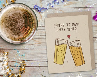 Wedding, Birthday, Engagement Beer Card; Craft Beer Lover, Beer Art, Greeting Card, Beer Glass, Congratulations, Celebration, Love