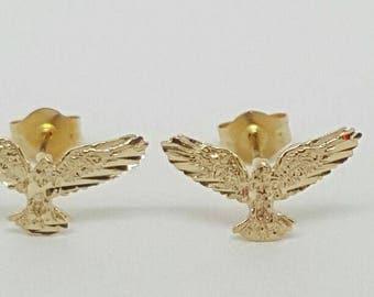 14k Solid gold eagle stud earrings