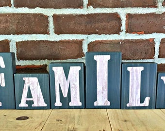 Family Block Set | Rustic Wooden Letter Blocks | Family Sign | Wooden Home Decor | Housewarming Gift | Anniversary Gift | Gray and White