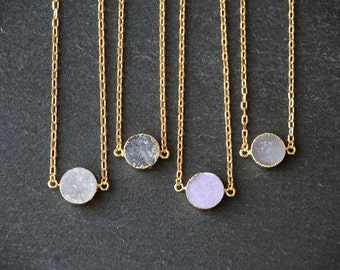 Natural Druzy Agate Horizontal Circle Pendant Necklace