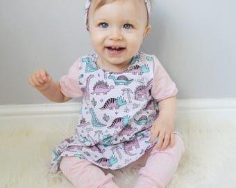 Dinosaur Dress - Baby Dinosaur Dress, Toddler Dinosaur Dress, Baby Dinosaur Clothes, Dinosaur Dress, Dinosaur Dress, Pink Dinosaurs, Dress