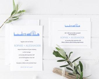 London city skyline wedding invitation/ London wedding/City wedding/cityscape/New York/SAMPLE