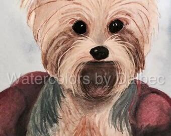 Custom Watercolor Pet Portrait Yorkshire Terrier