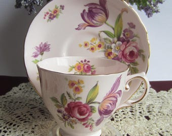 Tuscan China by RH Plant 9493 MONTROSE Pink Bone China Tea Cup and Saucer - Made in England ca1936
