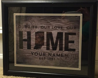 Personalized Framed Home Picture for Wedding and Anniversary Gift