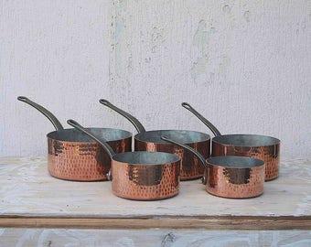 Antique French Copper Hammered 2mm Pans- VilleDieu - set of 5