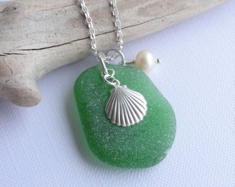 Scottish Sea Glass and Sterling Silver Shell Necklace - Beach Necklace - Sea Glass from Scotland