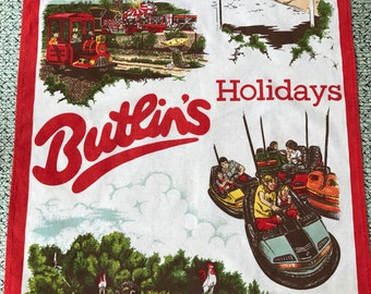 Vintage Retro Butlins Cotton Tea Towel 47cm x 71cm