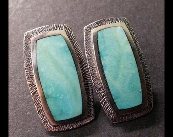sterling silver earrings inlaid with turquoise