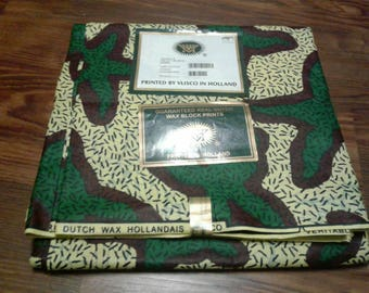 Cream and Green Ankara Fabric