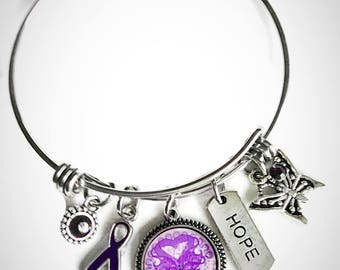 Alzheimer's awareness stainless steel bangle