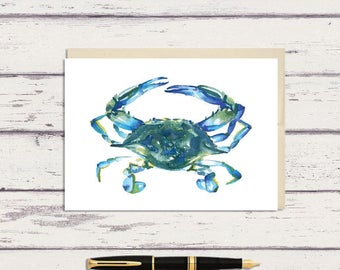 Blue Crab 5 x 7 Watercolor Greeting Card/ A7 Watercolor Greeting Card / Beach Art / Maryland Crab Gift / Beach Lover Gift / Crab Art