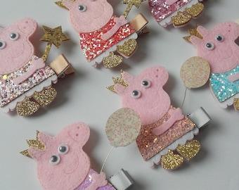 Peppa pig glitter hair clips