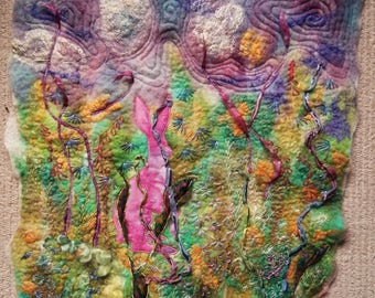 Mad March Hare Pink Fabric Textile Picture Felt Wallhanging Wool Art Silk Handmade Embroidered OOAK